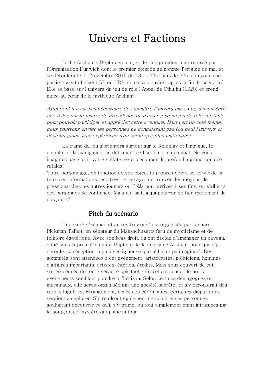 Aperçu du document Univers et Factions In the Arkham's Depths.pdf - page 1/5