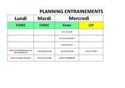 planning entraenements