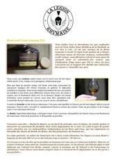 fiche de degustation rum and cane guyana xo