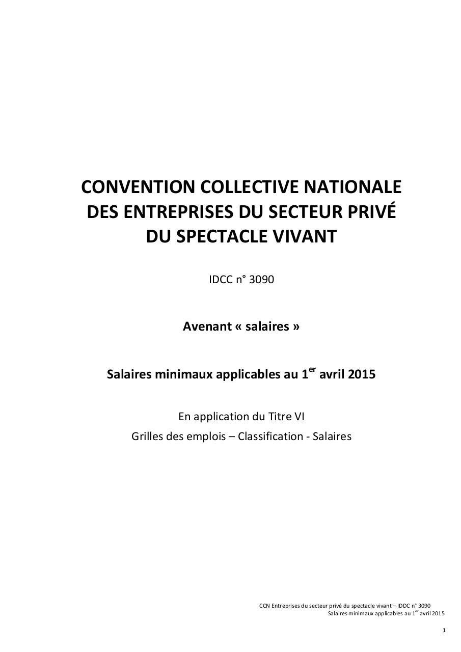 Ccn 3090 Grille De Salaires Minimaux Au 1er Avril 2015 Par Karine