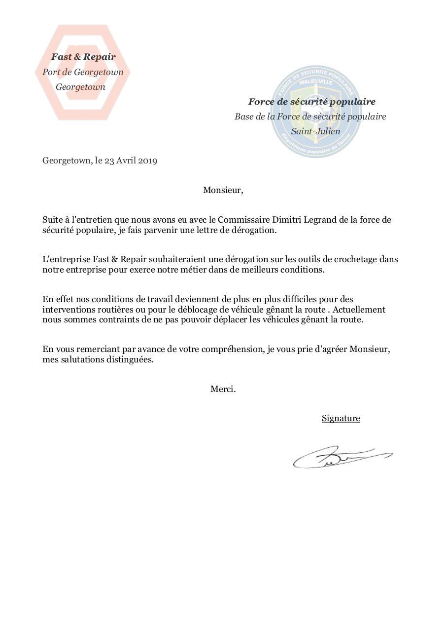 Lettre De Derogation Ant Par Guillaume Lam Fichier Pdf