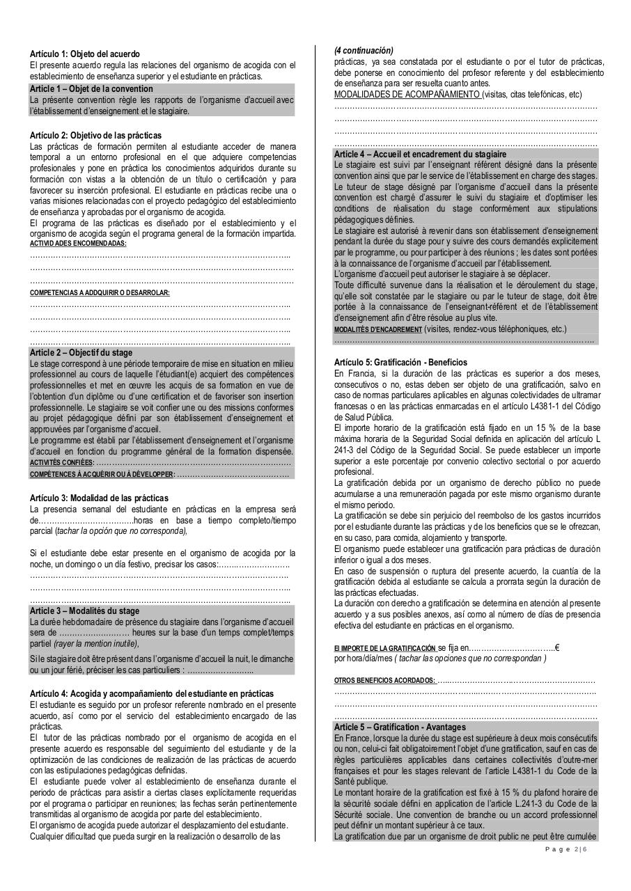 Convention de stage FR ES.pdf - page 2/6