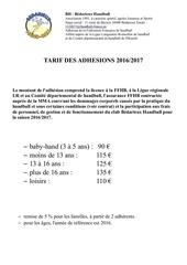 tarif adhesions 2016 2017