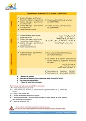 Fichier PDF fournitures scolaires ce1