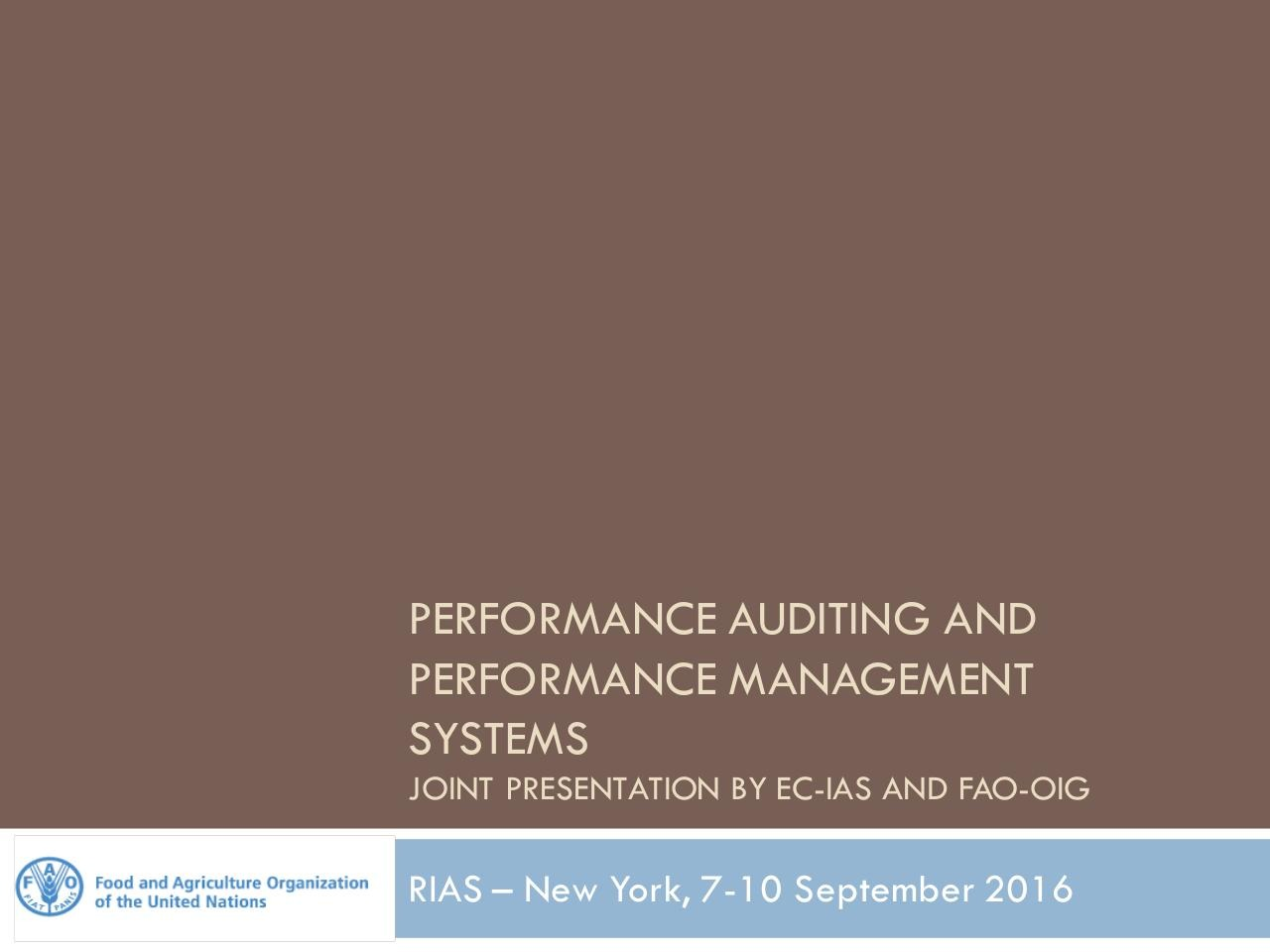Performance Audit - EC IAS and FAO OIG[1].pdf - page 1/16
