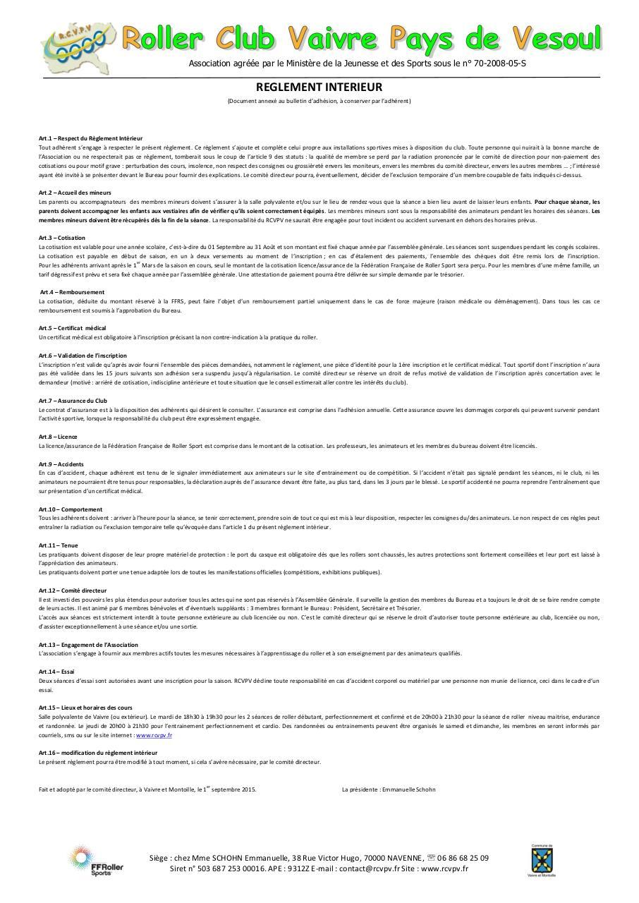 Fichier pdf reglement interieur rcvpv 2016 par manu for Reglement interieur association pdf