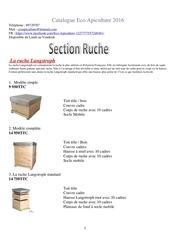 catalogue eco apiculture