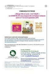 manger bio et local en arie ge du 17 au 25 septembre