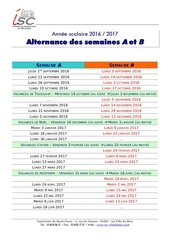 calendrier semaines 2016 2017