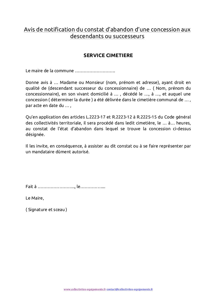 Aperçu du document CE - Avis de notification de constat d'abandon.pdf - page 1/1