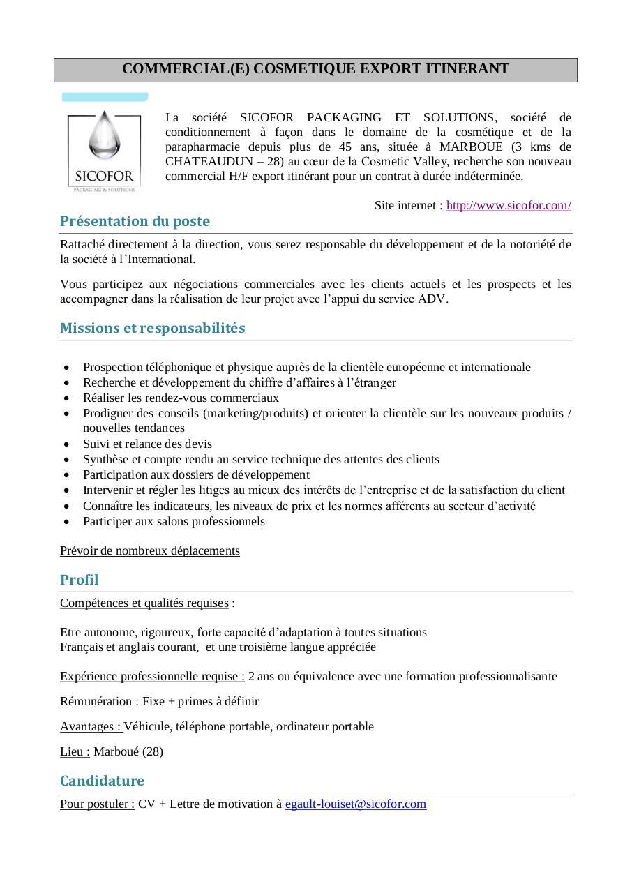 fiche de poste commercial export itin u00e9rant par pc