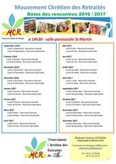 dates des rencontre du mcr 2017