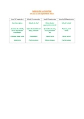 menus de la cantine 12 sept