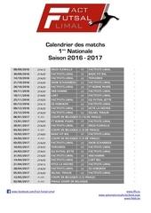 Fichier PDF calendrier des matchs 2016 2017