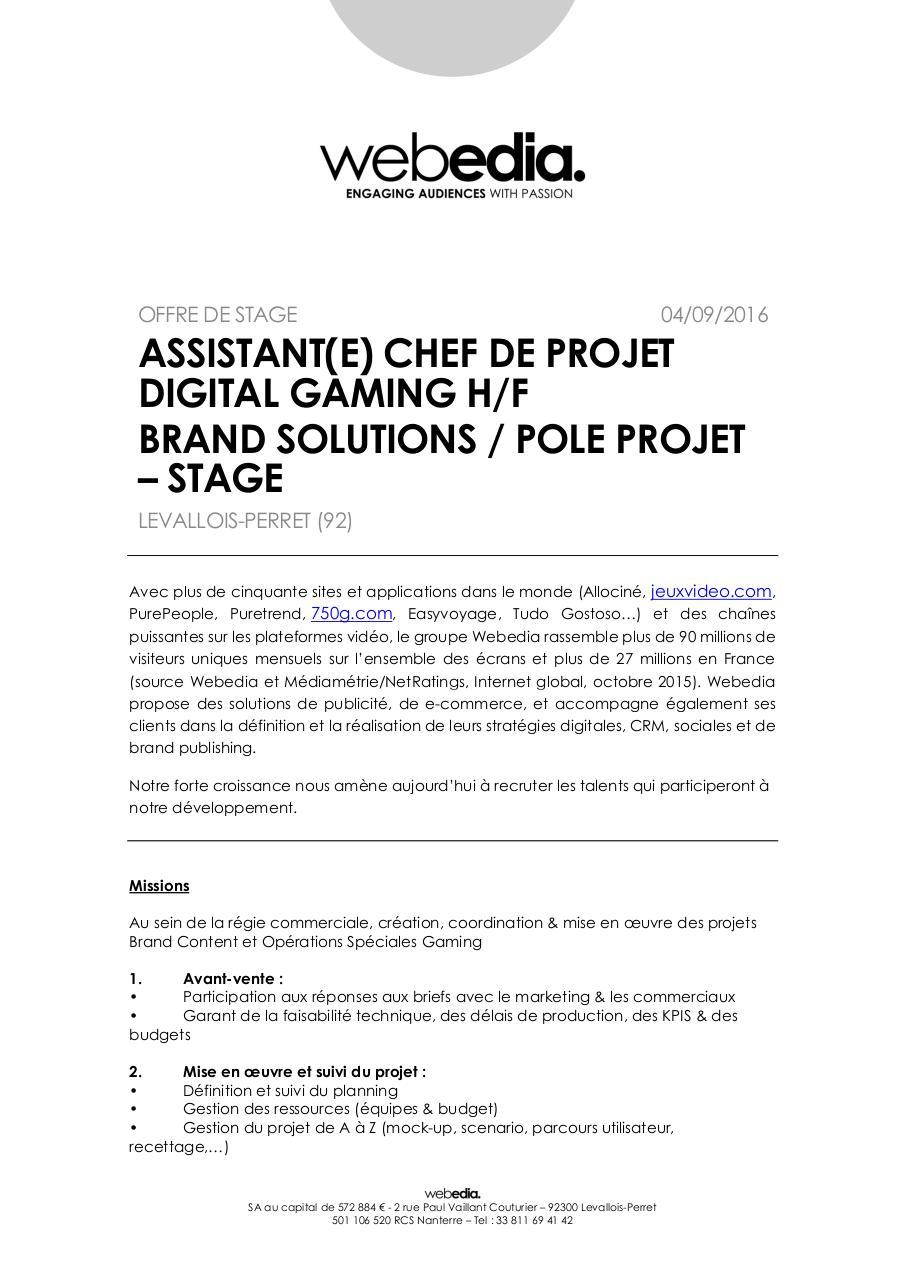 assistant chef de projet digital brand solutions projet par ameunier