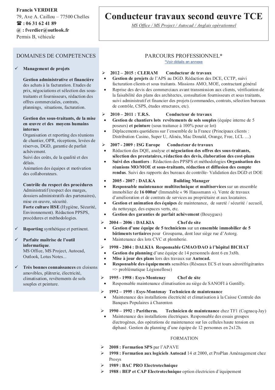 cv francis verdier conduteur travaux tce 2nd oeuvre 2015