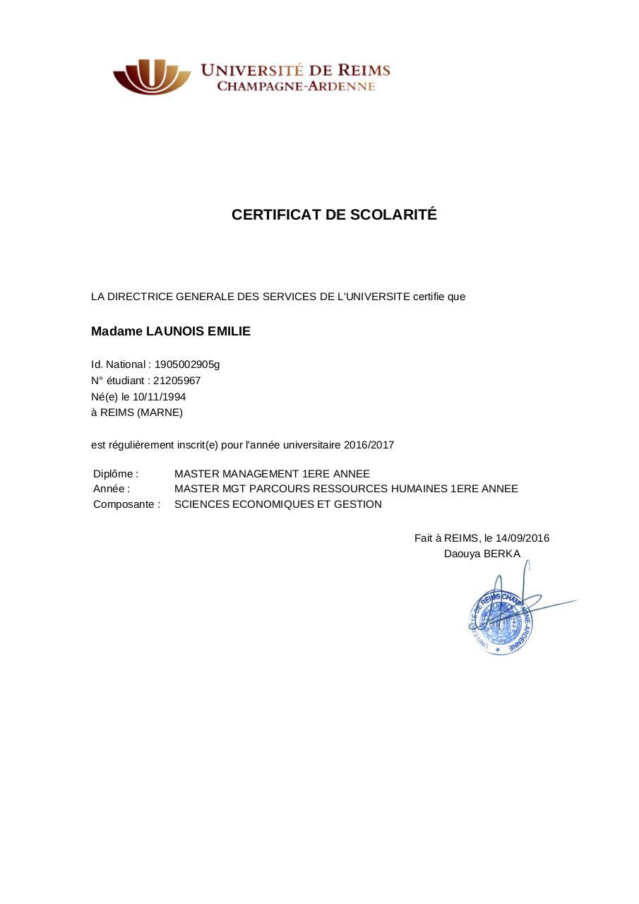 certificat de scolarit 3md5z1 2016 2017 launois emilie 1 fichier pdf. Black Bedroom Furniture Sets. Home Design Ideas