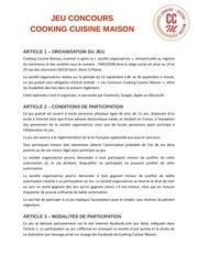 mentions legales jeu concours