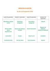 menus de la cantine 26 sept