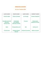 menus de la cantine 3 oct