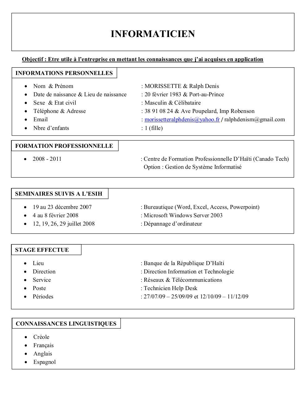 cv licence pro par faboune