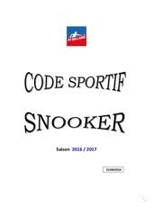 code sportif snooker 2016 2017