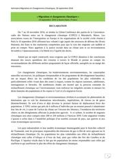 declaration migrations et changements climatiques