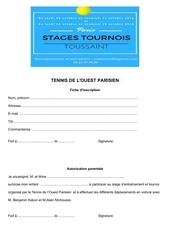 Fichier PDF fiche d inscription top tennis toussaint