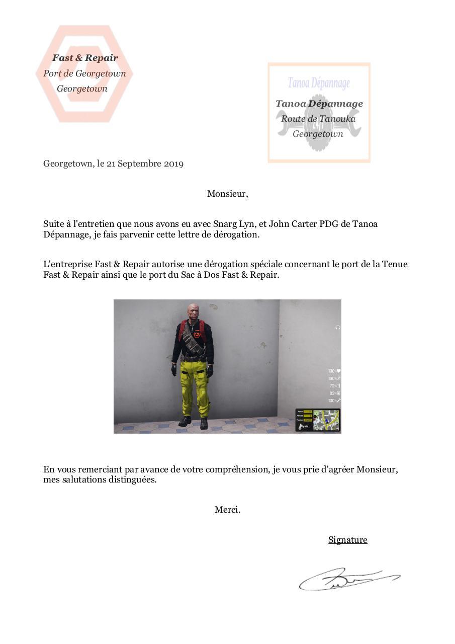Lettre De Derogation Tenue Par Guillaume Lam Fichier Pdf