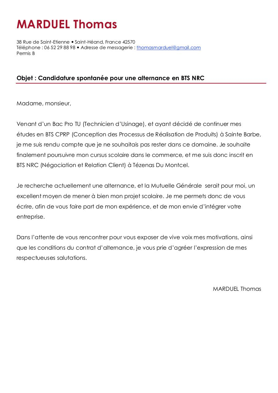 lettre de motivation thomas marduel la mutuelle g u00e9n u00e9rale