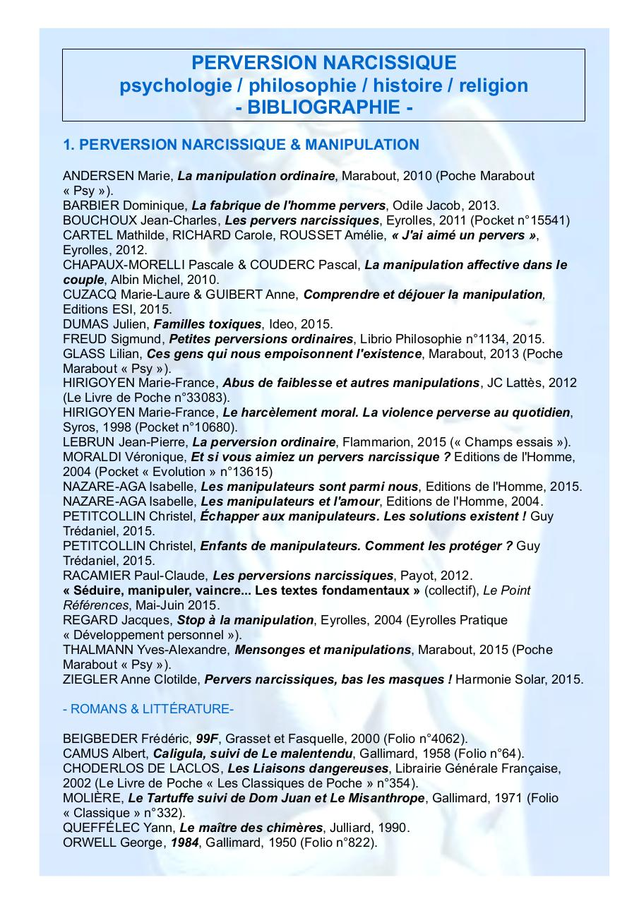 PERVERSION NARCISSIQUE BIBLIOGRAPHIE.pdf - page 1/4