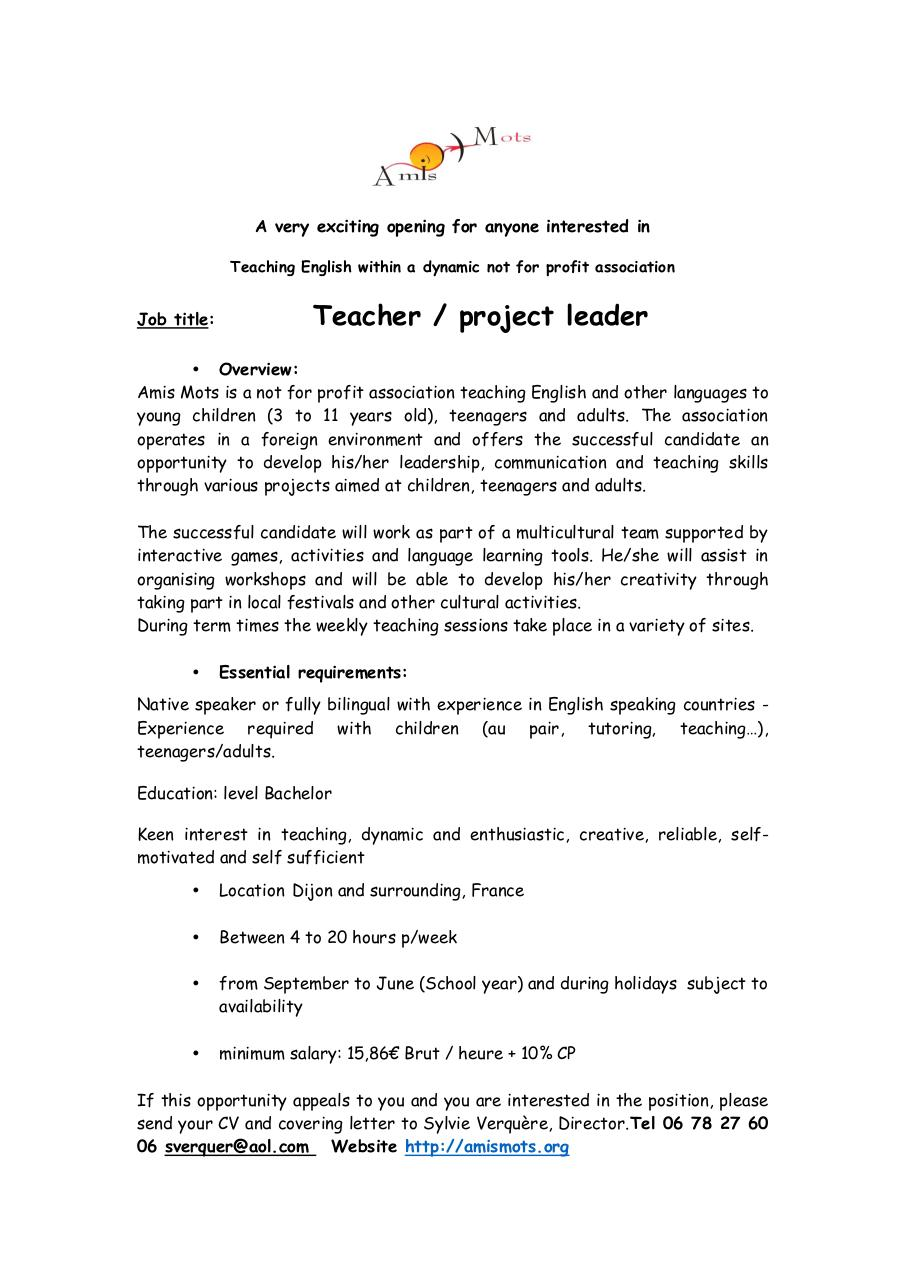 Aperçu du document Teacher - project leader.pdf - page 1/1