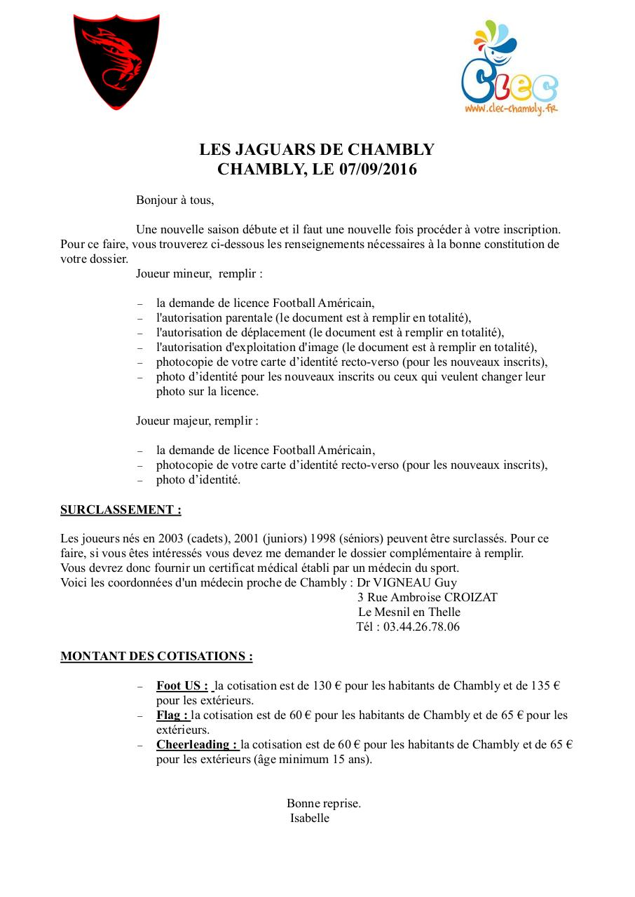 Aperçu du document Dossier d'inscription JAGUARS 2016-2017.pdf - page 1/6