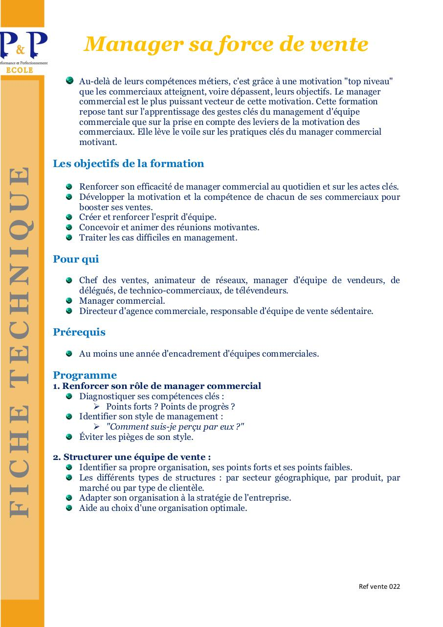 Ref vente 022 FT P&P Manager sa force de vente .pdf - page 1/2