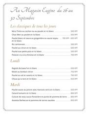 menu 26 au 31 sept