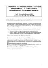 reforme procedures sanctions