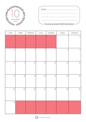 calendrier octobre 2016 rouge