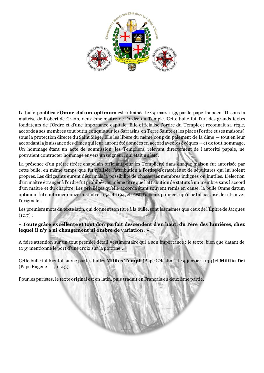 Aperçu du document Omne Datum Optimum - Bulle papale Innocent II.pdf - page 1/7