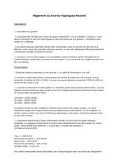 reglement du tournoi papangues reunion 2