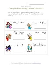 Fichier PDF family missing letters worksheet
