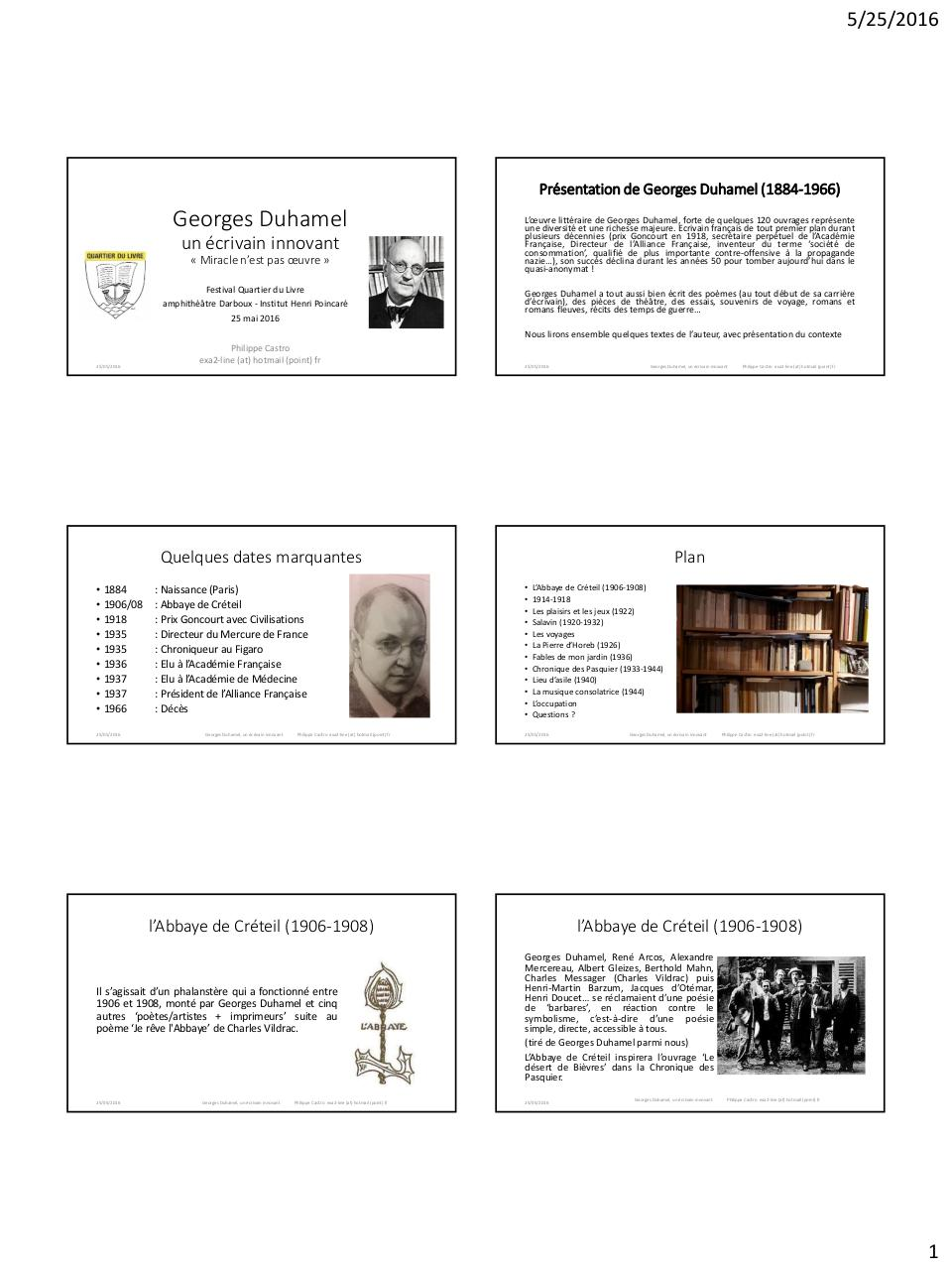 Georges Duhamel Un Ecrivain Innovant Par Philippe Castro
