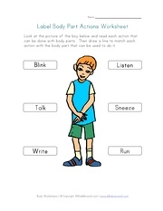 label body part actions worksheet