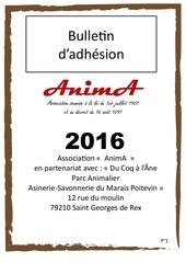 bulletin adhesion anima 2016