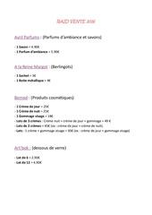 Fichier PDF prix produits
