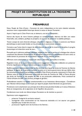 projet de nouvelle constitution ivoirienne