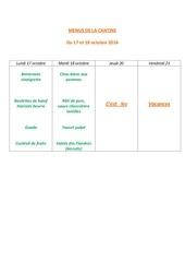 menus de la cantine 17 oct