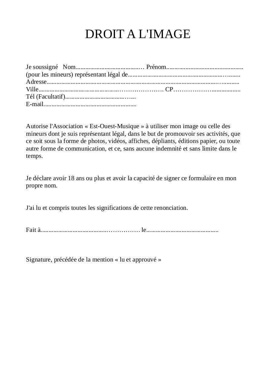 Déclaration de droit à l'image-PDF - Fichier PDF