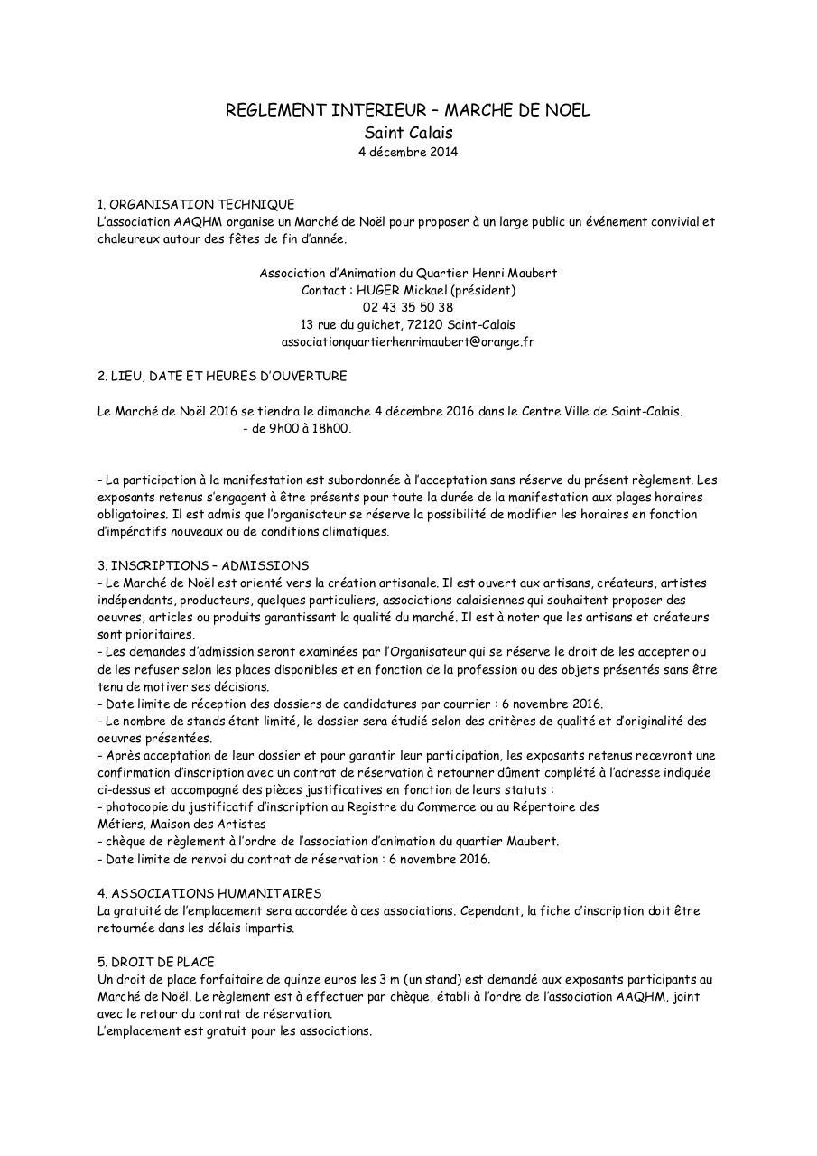 Reglement interieur marche de noel par diana for Reglement interieur association pdf