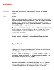 lettre de petition officielle avec commentaires