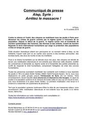 communique de presse alep syrie arretez le massacre